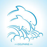 Two dolphins. Vector illustration of parent and baby underwater Royalty Free Stock Images