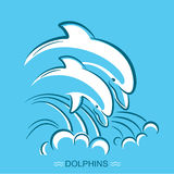 Two dolphins.Vector symbol illustration of parent and baby under Royalty Free Stock Image