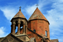Two domes and crosses on an Armenian church. Close up image of domes on an Armenian in the monastic complex of Khor Virap Royalty Free Stock Photos