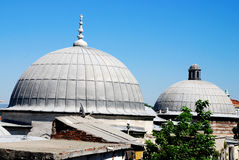 Two domes of the mosque. Two domes in front of the Blue Mosque, in Istanbul, Turkey Royalty Free Stock Photography