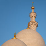 Two Domes and One Minaret of Abu Dhabi Sheikh Zayed Mosque Royalty Free Stock Image