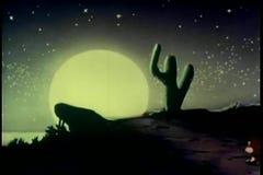 Two donkeys walking down path towards full moon stock video footage