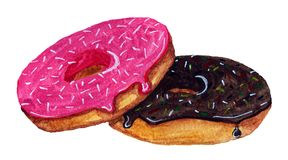 Two donuts in glaze on a white background. One donut in chocolate glaze, another in strawberry Stock Image