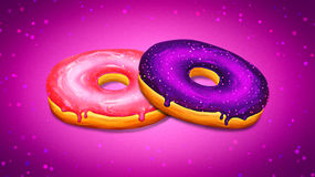 Two donuts illustration with pink and purple glaze on purple background. Tasty and delicious sweet dessert gourmet. Doughnut with vibrant pink frosting and a Stock Image