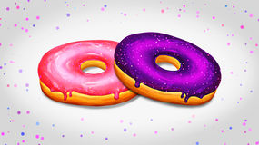 Two donuts illustration with pink and purple glaze. Tasty and delicious sweet dessert gourmet. Doughnut with vibrant pink frosting and a donut with purple glaze Royalty Free Stock Images