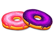 Two donuts illustration with pink and purple glaze on white background. Tasty and delicious sweet dessert gourmet. Doughnut with vibrant pink frosting and a Royalty Free Stock Image