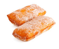 Two donuts in powdered sugar Stock Images
