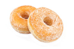Two donuts powdered with sugar Royalty Free Stock Photos