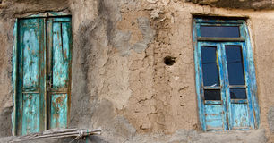 Two door. Two blue door and clay wall in Kandovan, Iran Royalty Free Stock Image