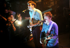 Two Door Cinema Club. Sam Halliday (left) and Alex Trimble (right) of Two Door Cinema Club during performance in Prague, February 26, 2013 Stock Image