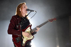 Two Door Cinema Club. Singer and guitarist Alex Trimble of Two Door Cinema Club during performance in Prague, Czech republic, February 22, 2017 Stock Image