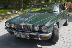 The two-door Jaguar XJ12c Daimler Double Six Coupe in the parade of Jaguar cars. Turku, Finland Stock Photos