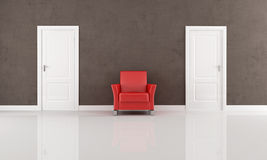 Two door and red armchair Royalty Free Stock Photo