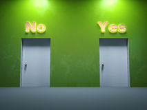 Two door ways yes no Stock Image