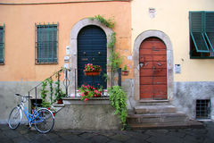 Two doors. Part of a house in lucca, tuscany Stock Images