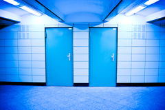 Two doors. Underground subway with two blue doors Royalty Free Stock Photography