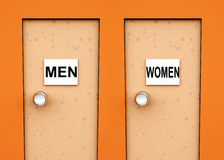 Two Doors 5. An conceptual image of two doors with signs on them indicating toilets royalty free illustration