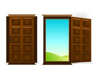 Two doors, cdr vector. Two isolated wooden doors, one closed, the other wide opened, vector format Stock Image