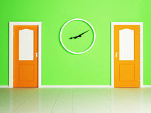 Two doors and the clock Royalty Free Stock Photography