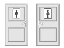 Two  doors with the drawn men on a white background Stock Image