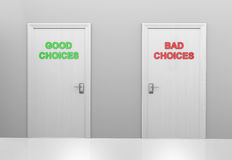 Two doors labeled good choices and bad choices. A choice of two doors to take in life, one leading to good decisions and success, the other to bad decisions and Stock Photo