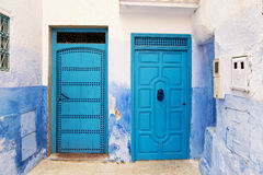 Two doors n the town of Chefchaouen, in Morocco Royalty Free Stock Photography