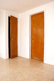 Two doors one ajar. Interior room showing two doors one is closed and the other is open slightly Royalty Free Stock Photos