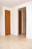 Two doors and an open doorway. Two closed doors and an open doorway on white walls Royalty Free Stock Photography