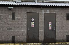 Two doors with prohibitory signs Royalty Free Stock Photos