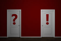 Two doors with question and answer Royalty Free Stock Photo