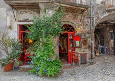 Two doors red in Calcata Stock Photo