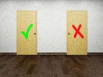 Two doors. With symbols of a choice Stock Photography