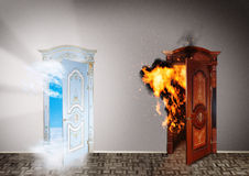 Two doors to heaven and hell. Choice concept Royalty Free Stock Photos