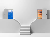 Two doors - two ways Stock Photo