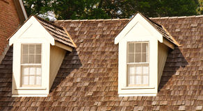 Two Dormers on Wood Shaker Roof Royalty Free Stock Photography