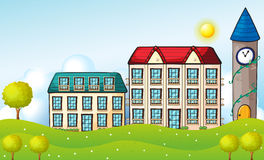 Two dormitories across the hill vector illustration