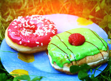 Two dough nuts with mint and strawberry Royalty Free Stock Images