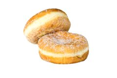 Two doughnuts. Two whole doughnuts isolated against a white background Royalty Free Stock Photo