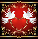 Two dove and heart Royalty Free Stock Photography