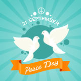 Two Dove Peace Day Holiday Poster Royalty Free Stock Images