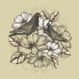 Two doves with blooming roses. Vector illustration Royalty Free Stock Images