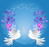 Two doves and floral ornament. Flying two white doves on blue background with floral ornament vector illustration
