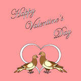 Two doves with a heart. Design Valentines day back Stock Photography