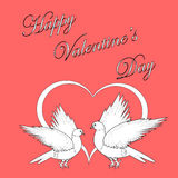 Two doves with a heart. Design Valentines day back. Ground. Vector-art illustration Stock Images