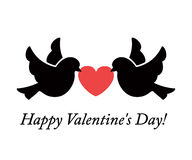 Two doves holding heart. Two lovers dove holding a heart with their beaks. Vector illustration of Valentine's Day Stock Image