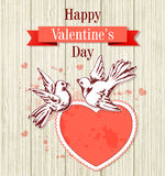 Two doves and red heart Stock Image
