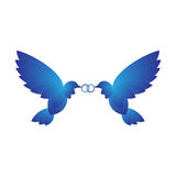 Two Doves With Rings Royalty Free Stock Photo