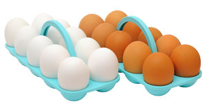 Two dozen eggs with white and brown shell Royalty Free Stock Photo