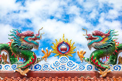 Two dragon on red roof with cloudy blue sky, Chinese temple in T Stock Image