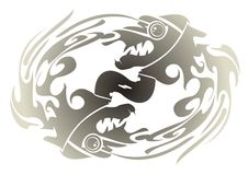 Two dragon's fishes forming a circle Royalty Free Stock Photo